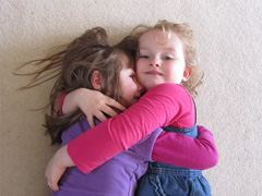 Girls hugging